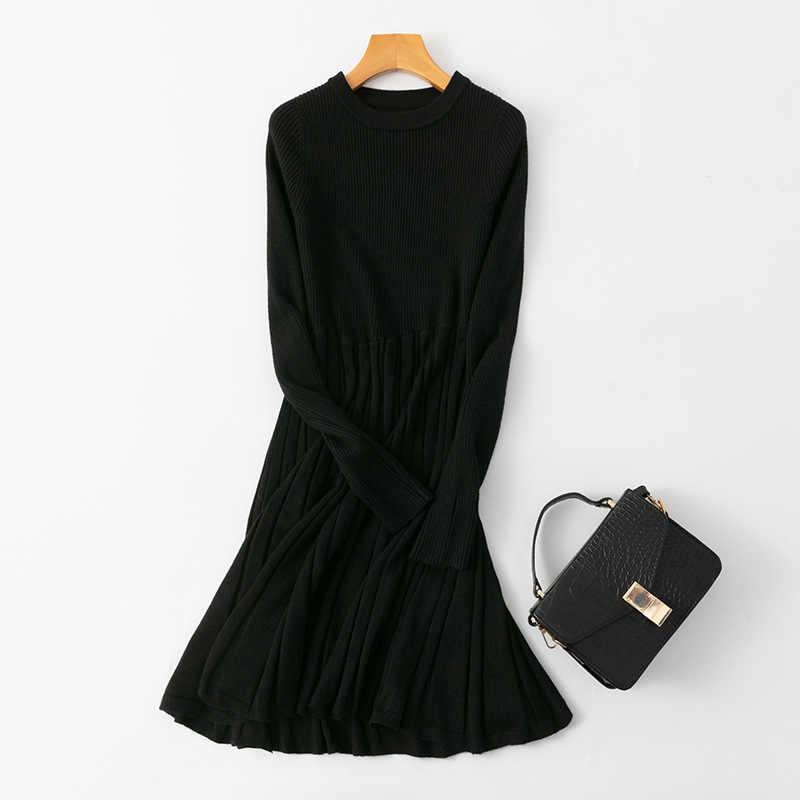 2020 우아한 OL 슬림 롱 스웨터 빅 스윙 드레스 여성 두꺼운 니트 가을 겨울 드레스 여성 슬림 a 라인 기본 드레스 캐주얼