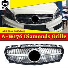 Fits For MecedesMB W176 Diamond Grills Grill ABS Silver A-Class A180 A200 A250 A45 Without Sign look Front Bumper Grille 2013-15