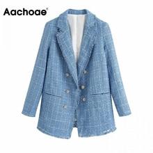 Tweed Blazer Aachoae Blue Double-Breasted Women Coat Jacket Office-Wear Elegant Casual