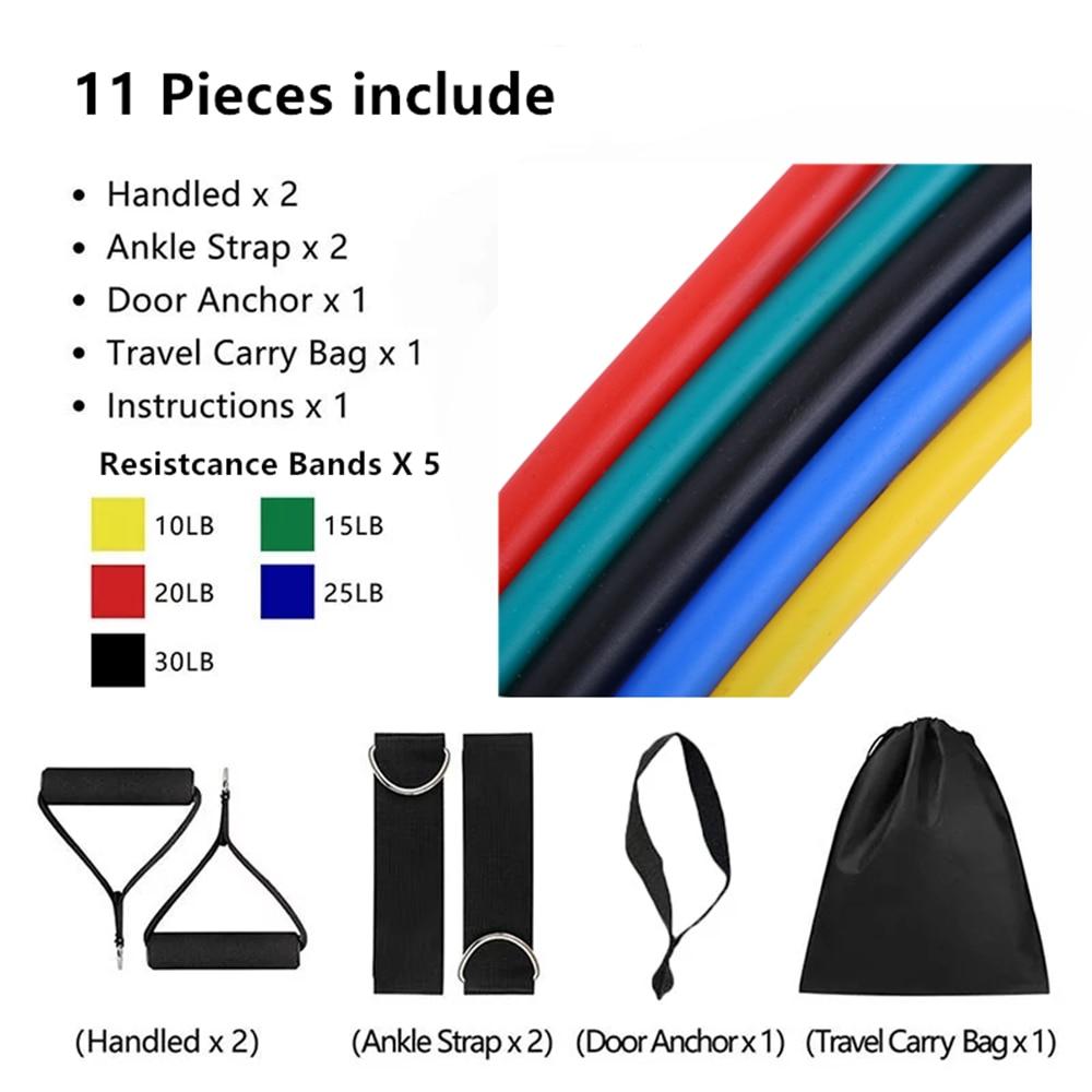 Эластичные ленты из латекса, 17 шт./компл., ремешки на лодыжку с якорем для тренажерного зала, комплект ремешков для упражнений для йоги, резиновая петля для фитнеса-1