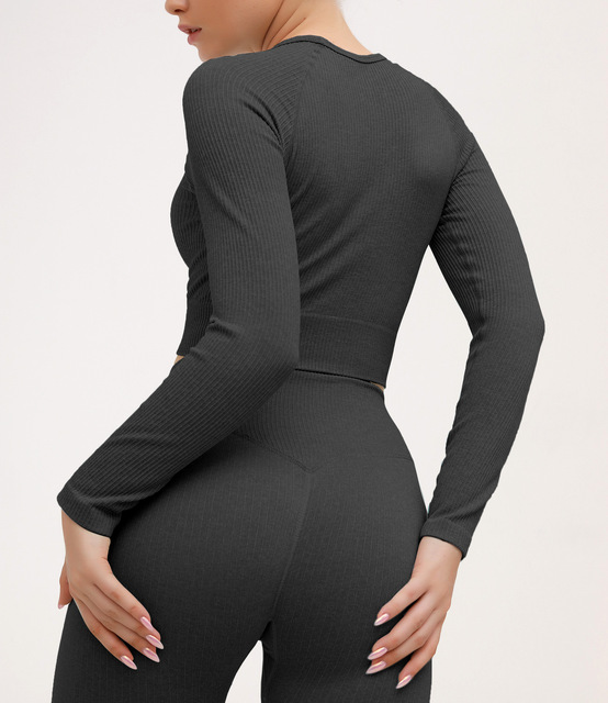2 Piece Set Women Ribbed Seamless Long Sleeve Yoga Sets Workout Clothes for Women High Waist Sports Legging Long Sleeve Top 4