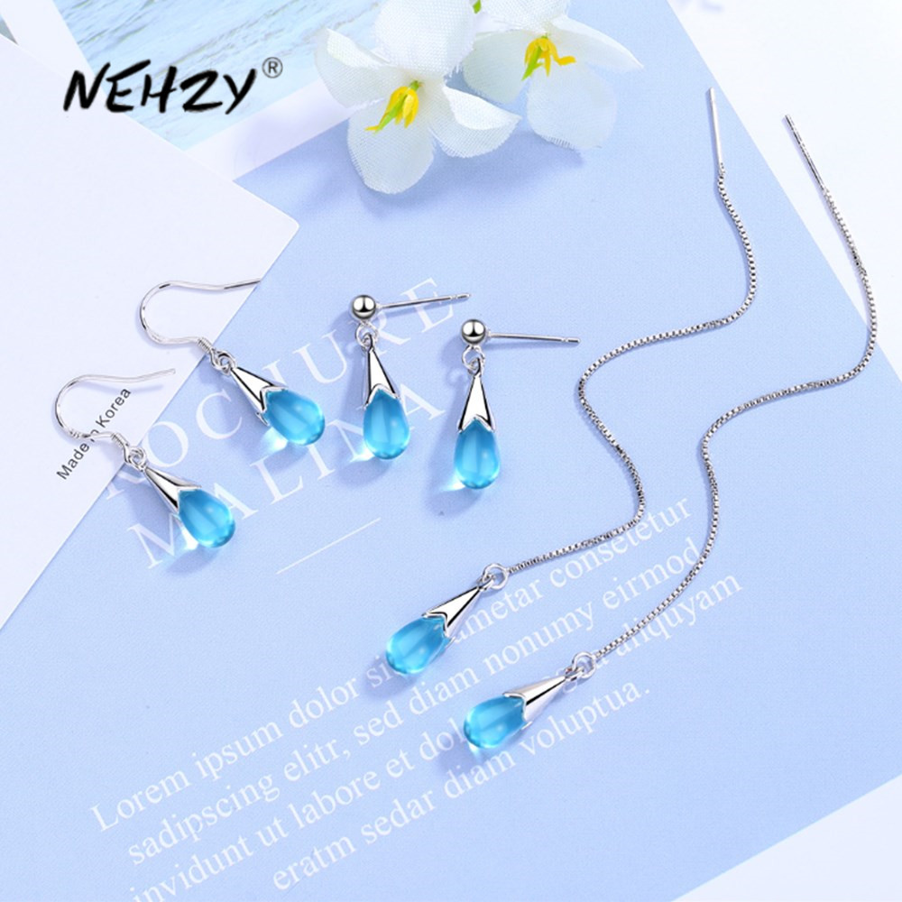 Nehzy 925 Sterling Silver New Woman Fashion Jewelry High Quality Blue Crystal Zircon Hot Selling Long Tassel Earrings Best Sale 2445bd Cicig