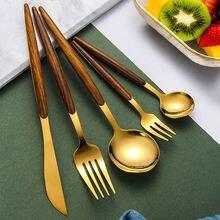Золотая португальская посуда 430 набор ножей вилок и ложек из