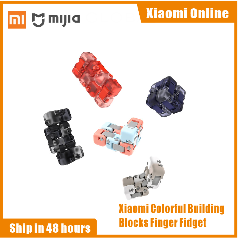 Xiaomi Mitu Spinner Colorful Building Blocks Finger Fidget Decompression Toy Puzzle Assembling Cube Finger Spinner Toy(China)