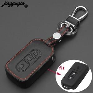 jingyuqin 3 Buttons Car Key Leather Bag Case Cover for Nissan Tiida Note Navara Qashqai Micra Juke X-Trail Pathfinder Keychain(China)
