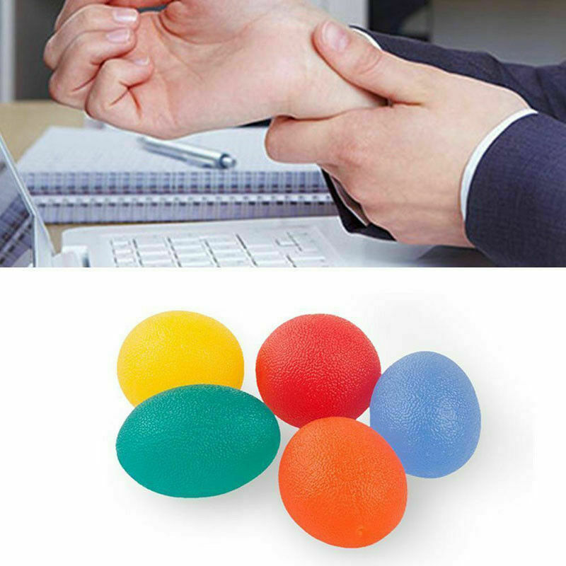 Anti Stress Egg Shaped Stress Ball Bath Bouncy Toys For Child Bouncing Ball Elastic Rubber Exercise Finger Relax Squeeze Adults