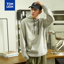 TONLION Hoodies Grey Man Creative Embroidery Pattern Men Hooded Sweatshirt Male Fashion Sudaderas 2020 New Design Loose Style