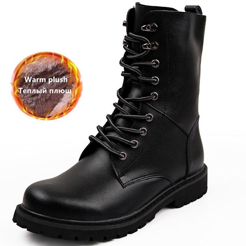 Men Winter Ankle Fur Boots Genuine Leather Warm Shoes Man Punk Casual Riding Equestr Botas Hombre Plus Size 48