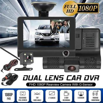 Car Dvr 3 Camera Lens 4.0 Inch Video Recorder Dash Cam Auto Registrator Dual Lens Support Rear View Camera DVRS Camcorder image