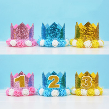 Glitter Children Crown One Year Birthday Hats Number Baby Shower Birthday Cake Bake Cap Party Props Boys Girls Decor Supplies image
