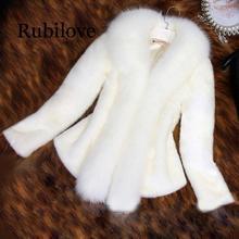 Rubilove New Arrival Women Fur White Coat Faux Fox Collar Female Black Artificial Fashion Slim Overcoat