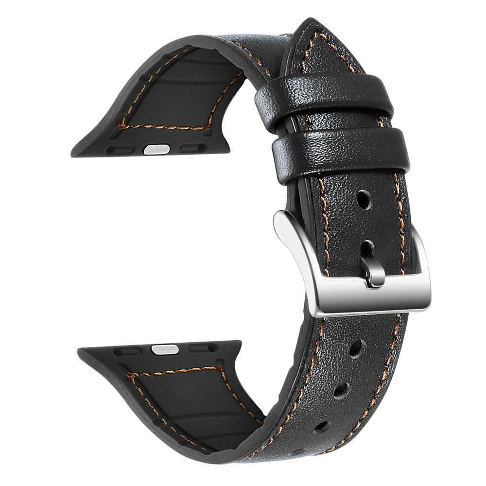 Correas ため apple watch iwatch 5 バンド 42 ミリメートル 44 ミリメートルストラップためコレア apple 時計バンド革とシリコーン cinturino シリーズ 5 4 3