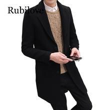 Rubilove 2019 New Winter Woolen Coat Men Leisure Long Sections Coats Mens Pure Color Casual Fashion Jackets /