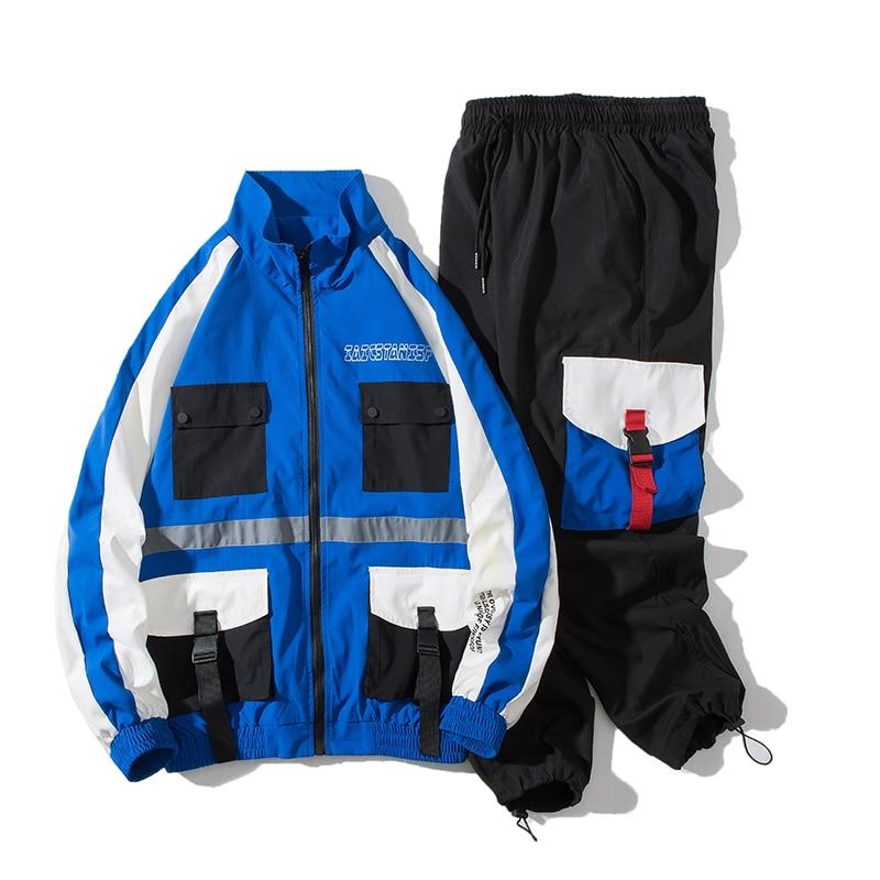 Pocket Military Tracksuit Men Blue Hip Hop Loose Zipper Long Sleeve Jacket Men Casual Autumn Men Sweatsuits Sets Street B60
