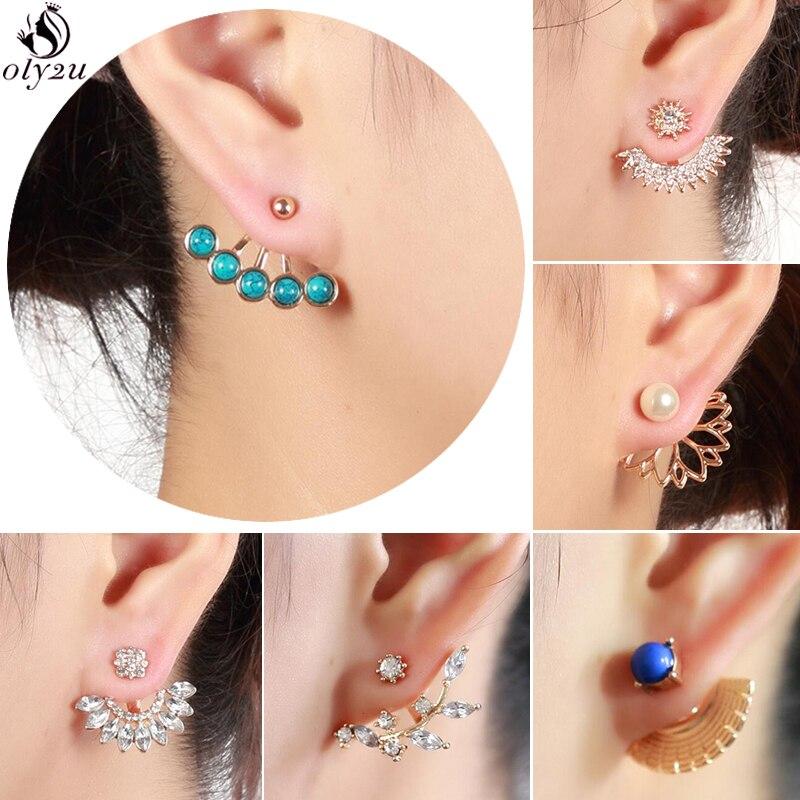 Oly2u Fashion Crystal Ear Jackets Earrings Double Sided Statement Earrings Women Piercing Jewelry Gifts For Teenage Girls