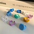 HUANZHI 2020 новые индивидуальные красочные цветы металлический вырез с перекрестными складками жемчужина кольцо неправильной формы для женско...