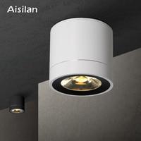 Aisilan LED Downlight tavan lambaları yüzeye monte panel lamba oturma odası yatak odası koridor mutfak ofis COB AC85 260V|Gömme Işıklar|   -