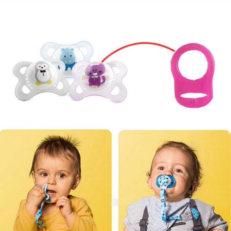 5 uds. Multi colores de silicona Baby Dummy chupete Holder Clip adaptador para el anillo de mamá 5 uds. Botón de silicona 12 colores