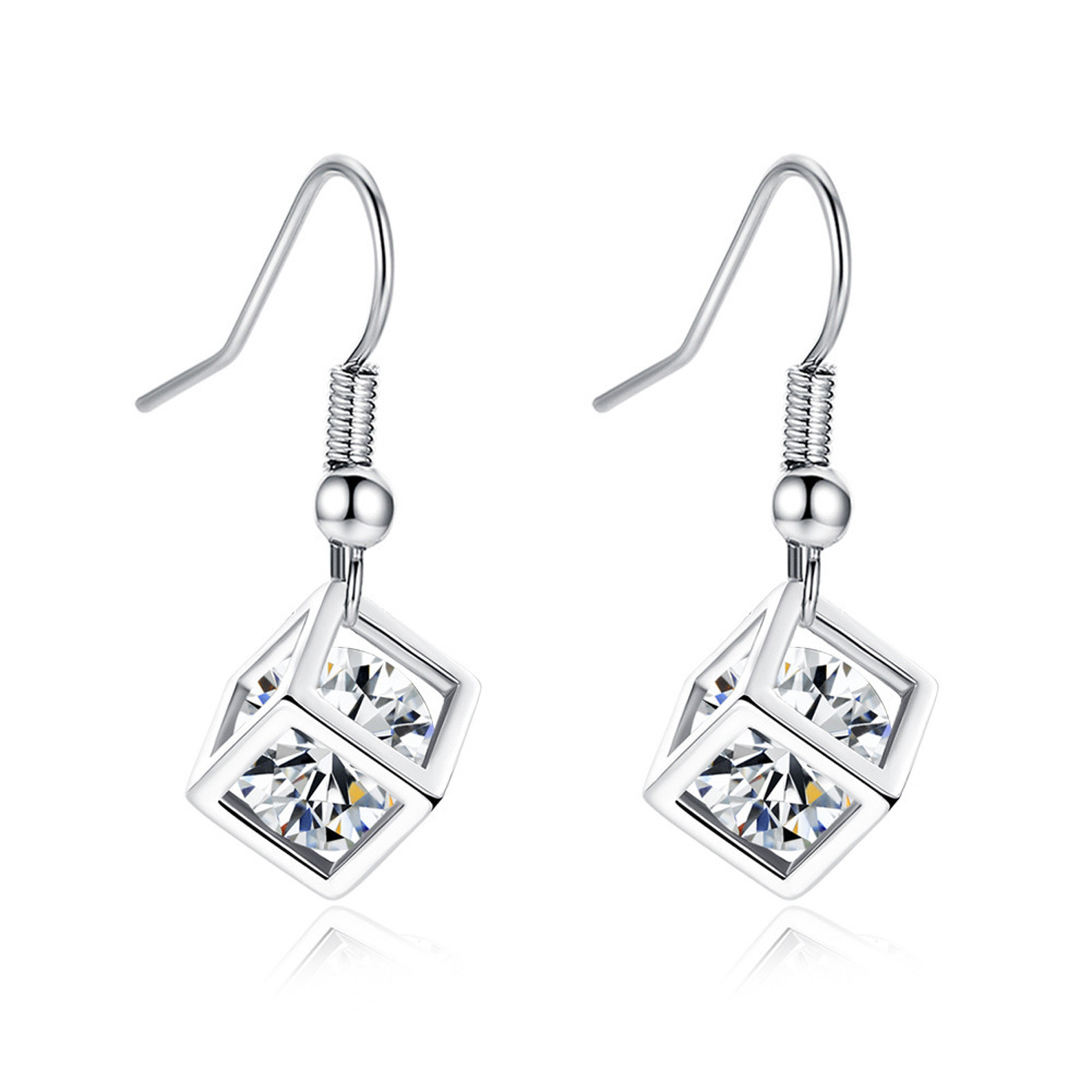 Stud-Earrings Wedding-Jewelry Rhinestone Elegant Dangle Fashion-Style Women Hoop Square