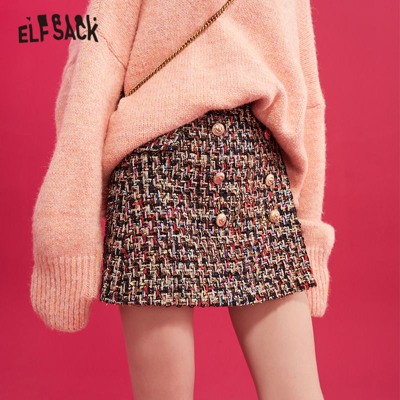 ELFSACK Black A Line High Waist Korean Style Woolen Skirt Women 2019 Winter Colorful Double Button Skinny Office Ladies Skirts