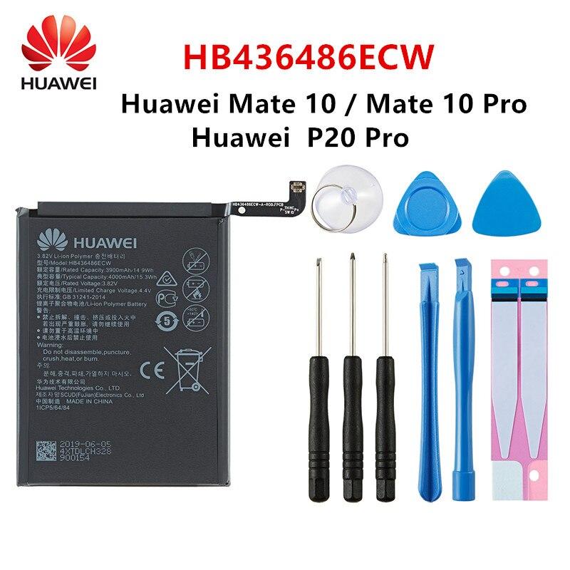 Hua Wei 100% Orginal HB436486ECW 4000mAh Battery For Huawei Mate 10 Mate 10 Pro /P20 Pro AL00 L09 L29 TL00 Batteries +Tools
