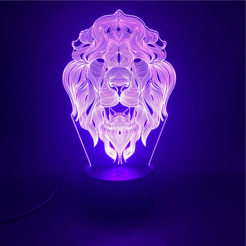 The King of Beasts The Lion 3D Lamp The Alarm Clock Base Nightlight Pretty Gift Colorful with Remote Usb Led Night Light Lamp the journey to decorative the west q version monkey led night light king sun wukong golden cudgell kid cartoon 3d lamp optica