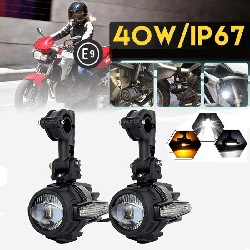 40W Universal Motorcycle LED Auxiliary Light 6000K Driving Fog Lamp Spotlights Headlights for Honda BMW R1200GS ADV F800 NO Lamp image
