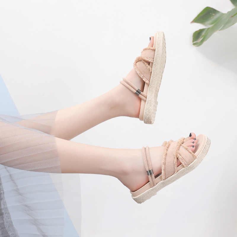 Frauen Sandalen Sommer Gladiator Frauen Flache Sandalen Weibliche Offene spitze Stiefeletten Dicken Boden Kreuz verband Römischen Sandalen Schuhe