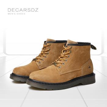 DECARSDZ męskie buty z prawdziwej skóry buty męskie 2021 jesienne zimowe modne męskie buty męskie buty męskie buty tanie i dobre opinie podstawowe CN (pochodzenie) PRAWDZIWA SKÓRA ANKLE Stałe Dla osób dorosłych Ze świńskiej skóry okrągły nosek Na wiosnę jesień