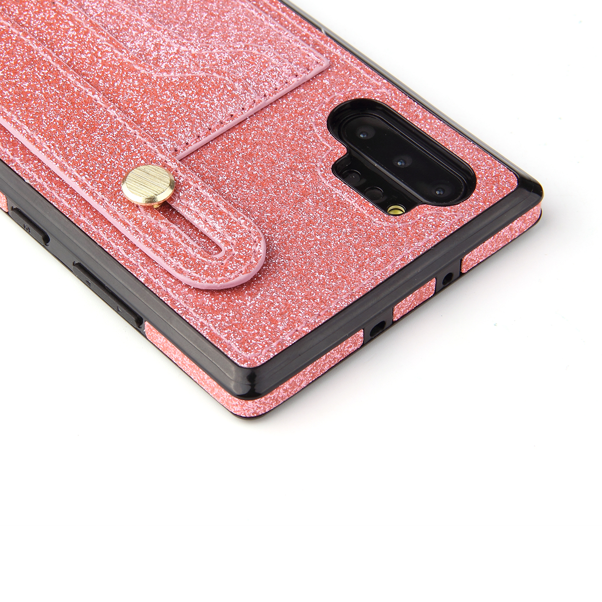 S20 Ultra Glitter Wrist Strap Case for Galaxy S20 Plus Note 10+ Soft TPU Leather Card Holder Cover Bracket Solid Color Coque