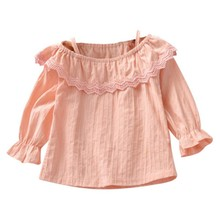FGirls Clothes Autumn Baby Girl Cute Long Flare Sleeve Square Collar Solid Off Shoulder Shirts Kids Tops Shirts Casual Blouse стоимость