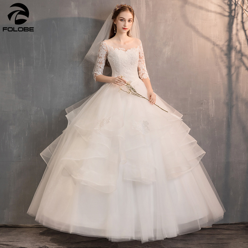 Modest Wedding Dresses with Sexy Sheer Neck Lace Applique Half Sleeves Tulle Ruffles Floor Length Bridal Gowns Vestido de Noiva
