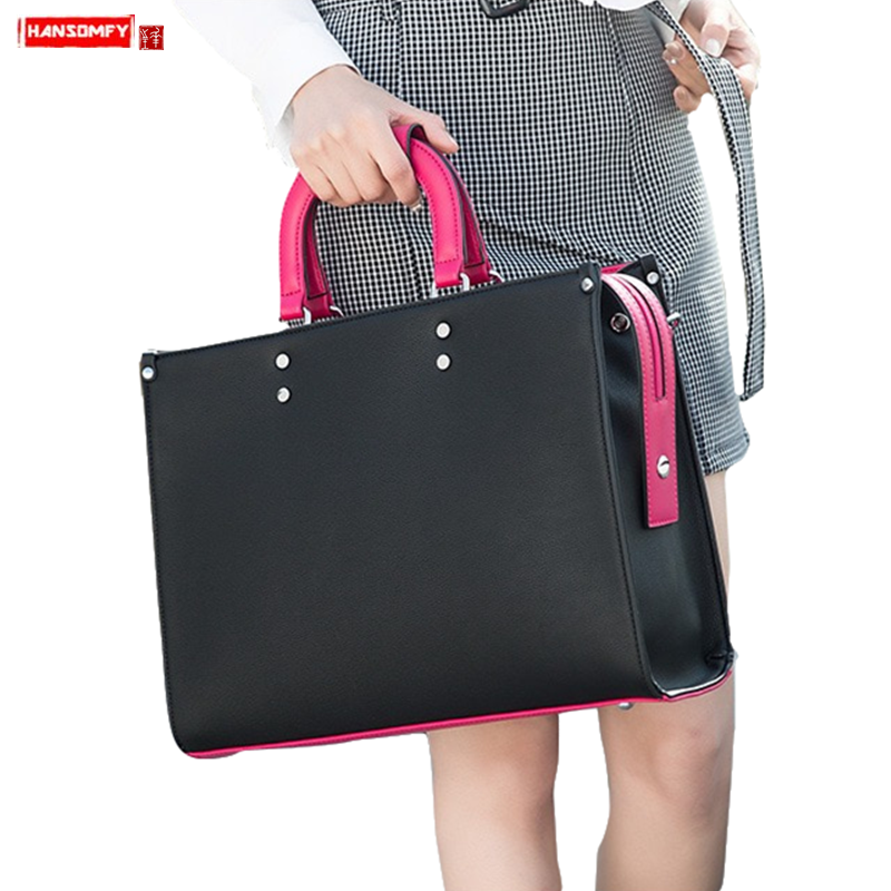 2019 New Fashion Women Handbags Notebook Shoulder Slung Computer Bag Female Business Briefcase Document File Versatile Tote Bags