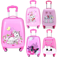18 inch Kids Cartoon rolling luggage children travel suitcase on wheel trolley luggage carry ons hardside bag for kid gift Carry-Ons    -