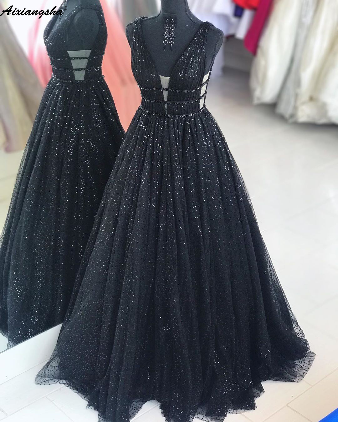 Real Picture V-Neck Black 2019 Prom Dresses A-Line Sequin Lace Beaded Party Maxys Long Prom Gown Evening Dresses Robe De Soiree