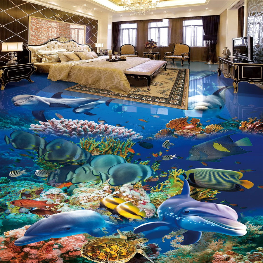 Custom floor painting 3d underwater world dolphin 3D stereo bathroom flooring tile decorative papel de parede