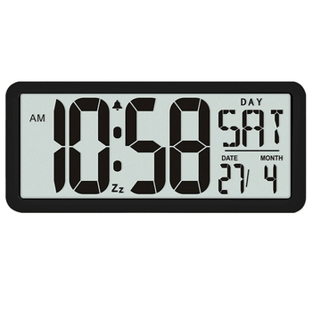 Square Wall Clock Series, 13.8inch Large Digital Jumbo Alarm Clock, LCD Display, Multi-Functional Upscale Office Decor Desk Blac new abs multi functions digital desk pen pencil holder display lcd alarm clock thermometer
