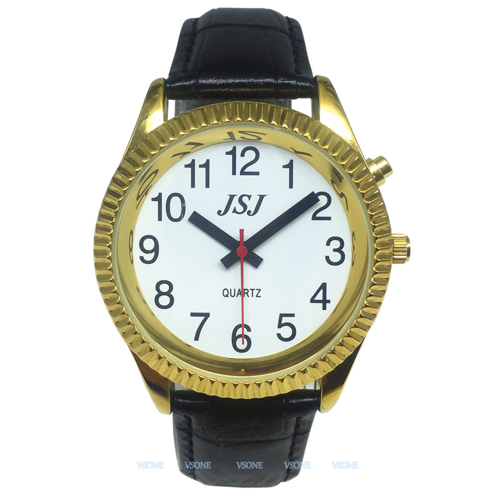 English Talking Watch With Alarm Function, Talking Date And Time, White Dial, Black Leather Band, Golden Case TAG-207