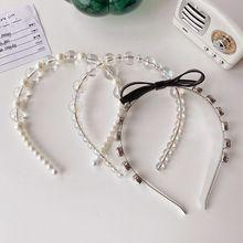 Headband Hair-Hoop Rhinestones Pearl Female Headwear-Accessories Beads Transparent Girls
