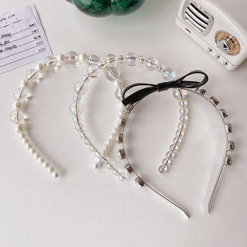 Women Pearl Transparent Beads Acrylic Headband Female Bow Rhinestones Hair Hoop Girls Prom Party Headwear Accessories - discount item  33% OFF Headwear