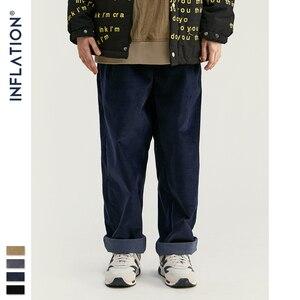Image 4 - INFLATION 2020 Collection Wide Wale Men Corduroy Slacks Loose Fit Overalls Solid Color Men Corduroy Casual Street Pants 93326W