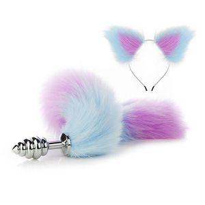 Erotic Bondage Set Detachable Anal Plug Tail Plush Ears Hair Hoop Couples Flirt Fetish Fantasy SM Cosplay Game Adult Sex Toy