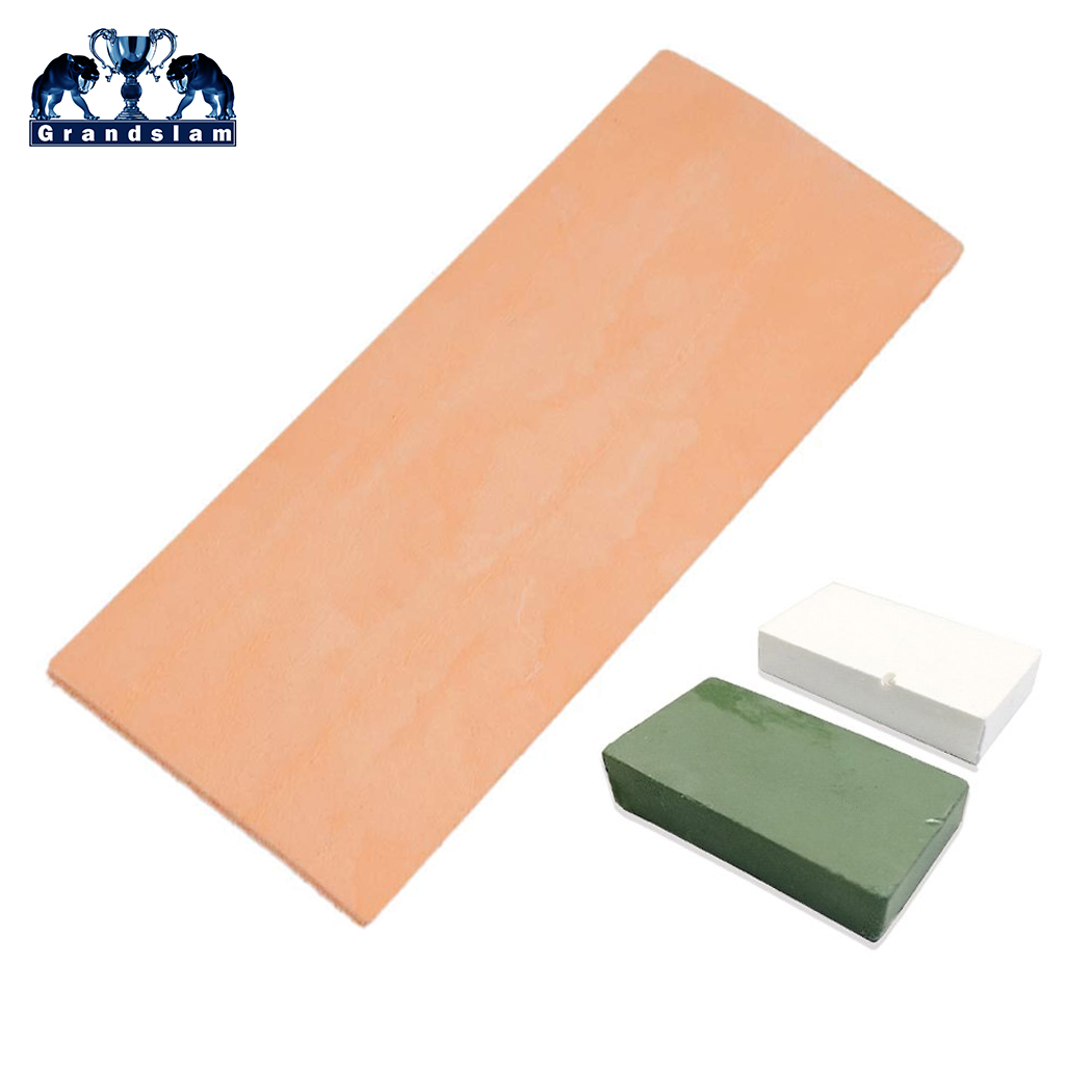 Grandslam Leather Honing Strop Straight Razor Knife Blade Sharpening Strop 3 Inch X 8 Inch White And Green Polishing Compound Wa