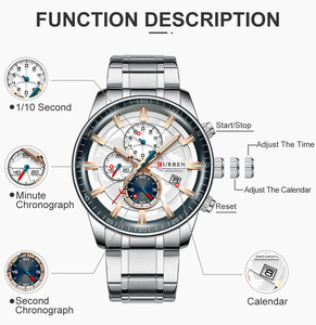 Image 5 - New CURREN Brand Men Watches Chronograph Quartz Watch Man Stainless Steel Waterproof Sports Clock Watches Business Reloj Hombre
