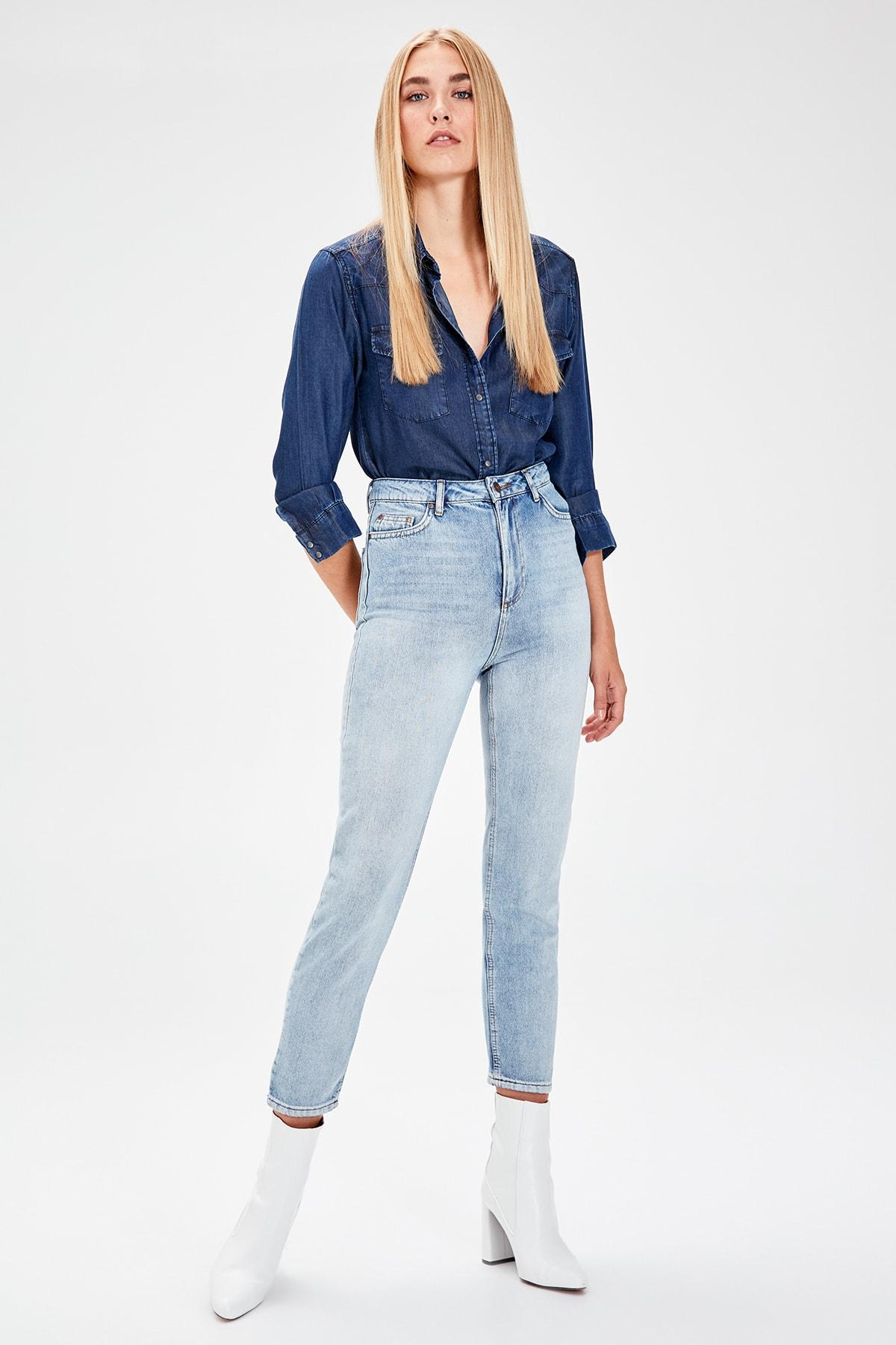 Trendyol Blue High Waist Mom Jeans TWOAW20JE0060