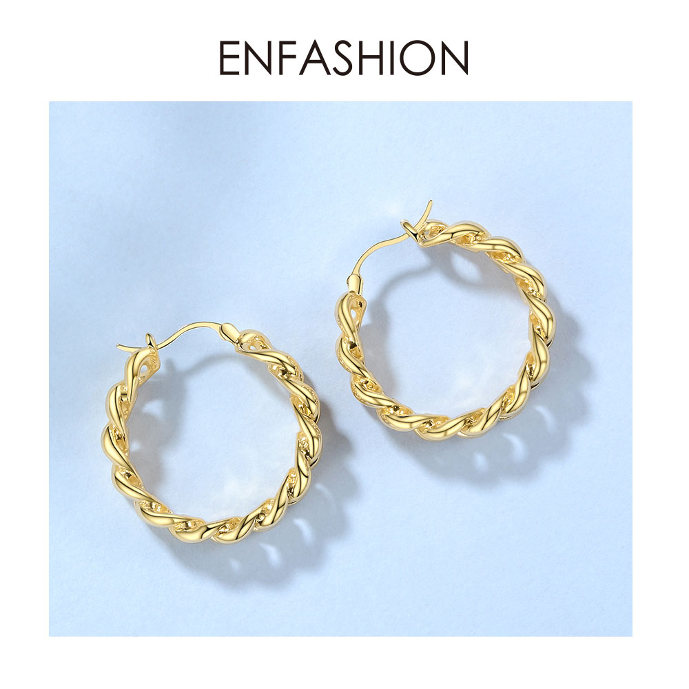 Image 5 - ENFASHION Punk Small Link Chain Hoop Earrings For Women Gold Color Round Hoops Earings Fashion Jewelry Pendientes Mujer E191088Hoop Earrings   -