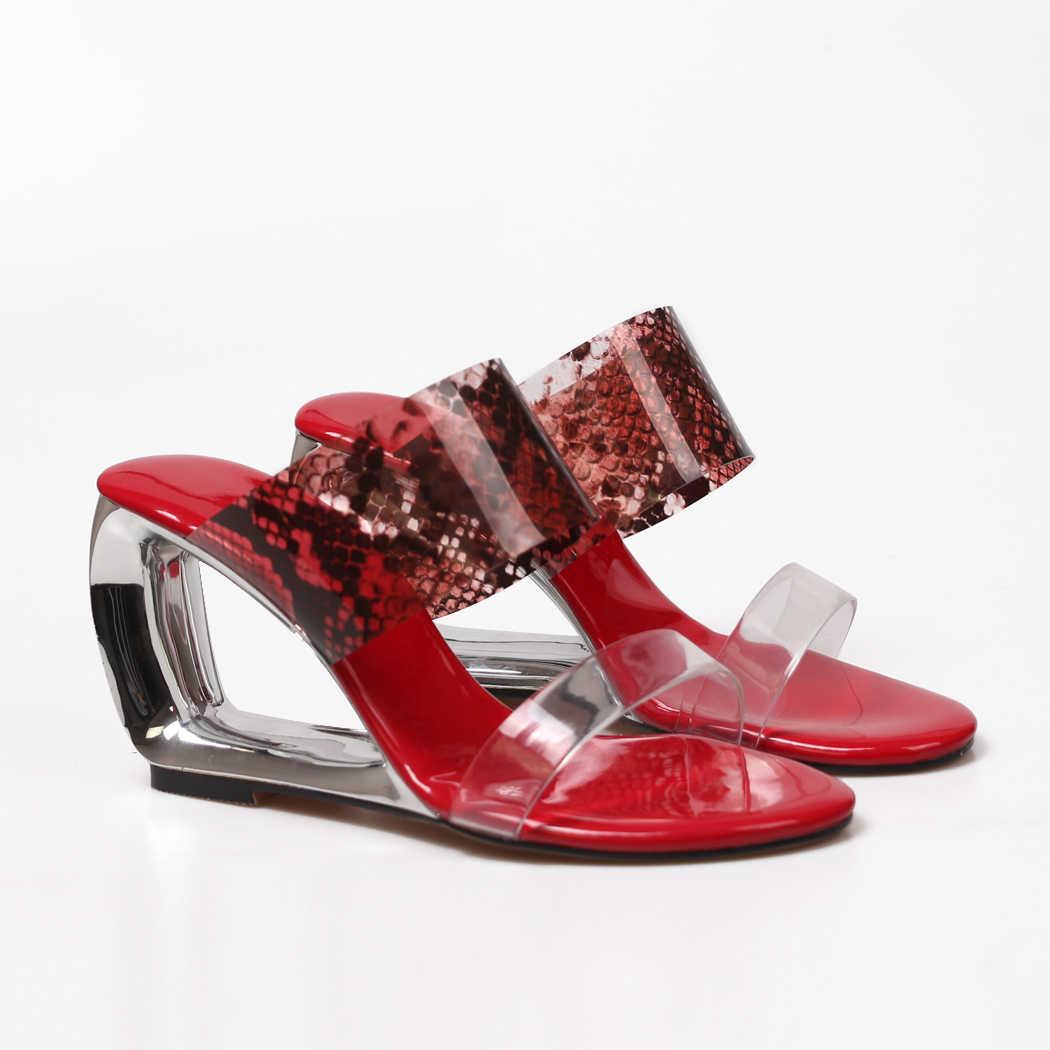 WETKISS şeffaf yılan PVC sandalet takozlar sandalet bayan zarif rahat ayakkabılar parti düğün kırmızı sandalet ayakkabı 2020