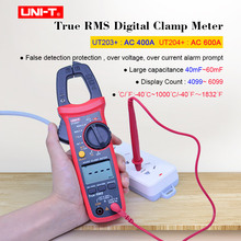 Digital Clamp Meter UNI-T UT203+ UT204+ T-RMS Multimeter AC DC voltage current tester Resistance Frequency Diode Continuity test uni t ut203 1 4 lcd digital clamp multimeter red black 1 x 9v 6f22 battery