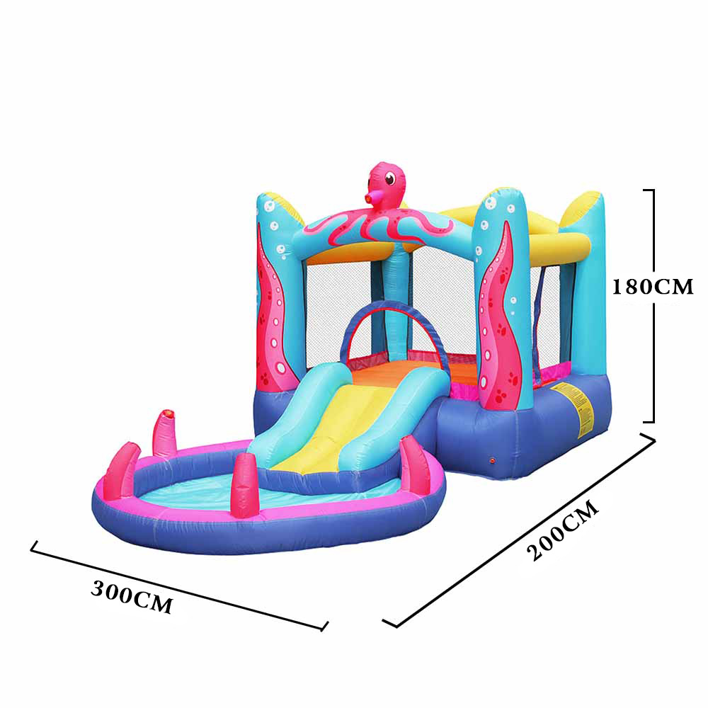Bounce House Octopus Slide Outdoor Jumper Inflatable Blower With Water Bouncer Toys Slides Kids Air Party
