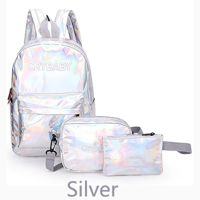 2019 Holographic Laser Backpack Embroidered Crybaby Letter Hologram Backpack Set School Bag +shoulder Bag +penbag 3pcs